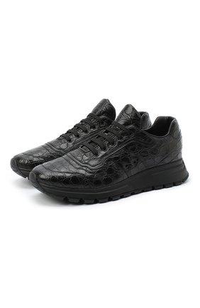 Мужские кроссовки из кожи каймана PRADA черного цвета, арт. 4E3388-3EA5-F0002 | Фото 1