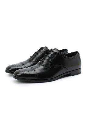 Мужские кожаные оксфорды PRADA черного цвета, арт. 2EB187-P39-F0002-X001 | Фото 1 (Мужское Кросс-КТ: Броги-обувь; Стили: Классический)