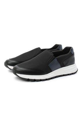 Мужские комбинированные кроссовки PRADA черного цвета, арт. 4D3516-3L1K-F0G52-G000 | Фото 1