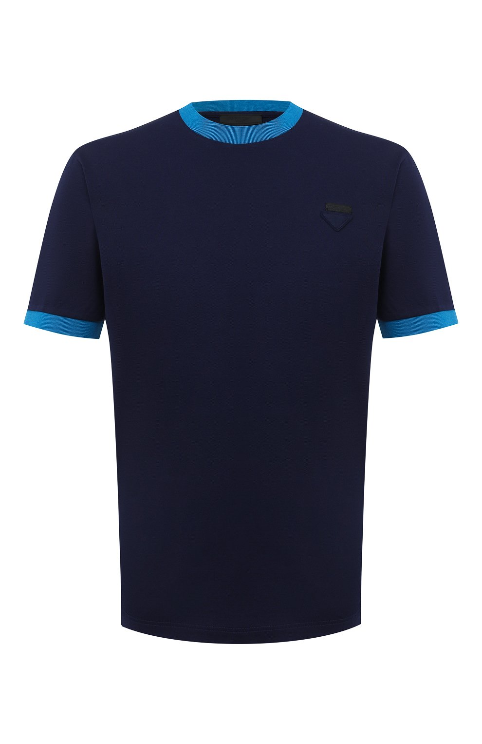 Мужская хлопковая футболка PRADA синего цвета, арт. UJN452-1C61-F0BLX-181   Фото 1 (Принт: Без принта; Рукава: Короткие; Длина (для топов): Стандартные; Материал внешний: Хлопок; Стили: Кэжуэл)