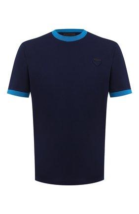 Мужская хлопковая футболка PRADA синего цвета, арт. UJN452-1C61-F0BLX-181 | Фото 1