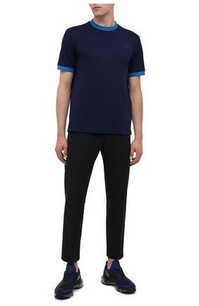 Мужская хлопковая футболка PRADA синего цвета, арт. UJN452-1C61-F0BLX-181 | Фото 2