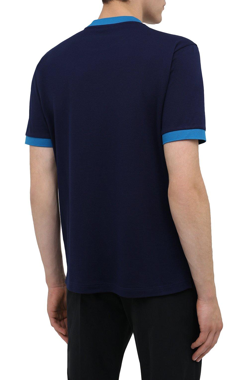Мужская хлопковая футболка PRADA синего цвета, арт. UJN452-1C61-F0BLX-181   Фото 4 (Принт: Без принта; Рукава: Короткие; Длина (для топов): Стандартные; Материал внешний: Хлопок; Стили: Кэжуэл)