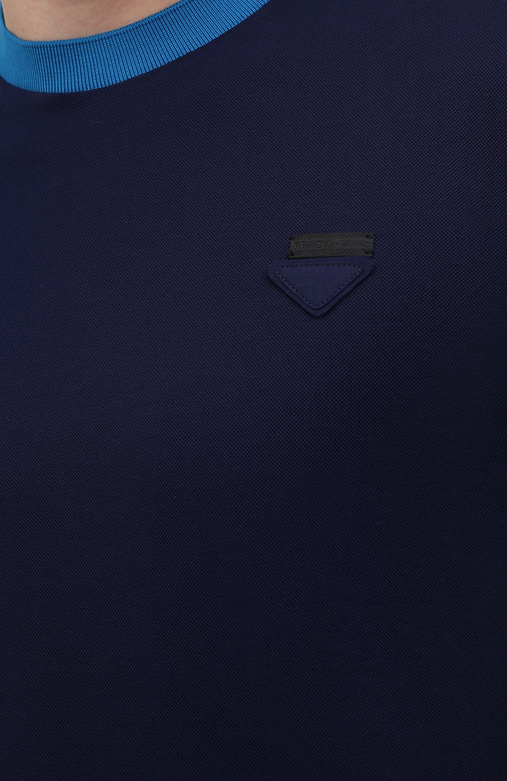 Мужская хлопковая футболка PRADA синего цвета, арт. UJN452-1C61-F0BLX-181   Фото 5 (Принт: Без принта; Рукава: Короткие; Длина (для топов): Стандартные; Материал внешний: Хлопок; Стили: Кэжуэл)