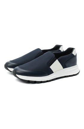 Мужские комбинированные кроссовки PRADA синего цвета, арт. 4D3516-3L1K-F0Q8A-G000 | Фото 1