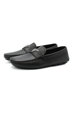 Мужские кожаные мокасины PRADA черного цвета, арт. 2DD164-053-F0002-U00I | Фото 1