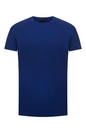 Мужская хлопковая футболка PRADA синего цвета, арт. UJM564-1UOR-F0AIN-092   Фото 1
