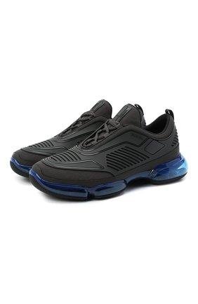 Мужские комбинированные кроссовки PRADA черного цвета, арт. 2EG298-2OF3-F0JQR | Фото 1