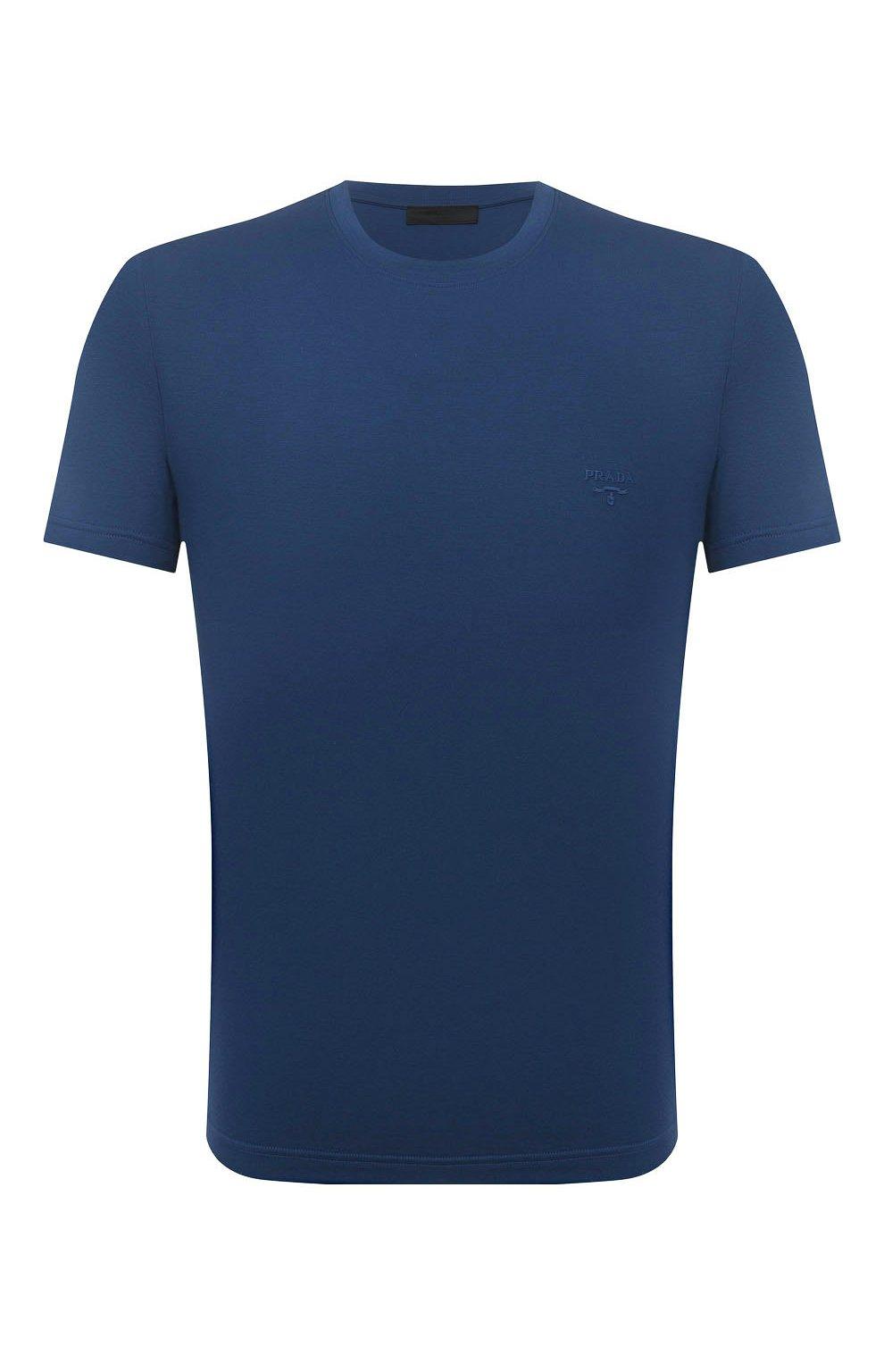 Мужская хлопковая футболка PRADA синего цвета, арт. UJM564-1UOR-F0AFC-092   Фото 1 (Принт: Без принта; Рукава: Короткие; Длина (для топов): Стандартные; Материал внешний: Хлопок; Стили: Кэжуэл)