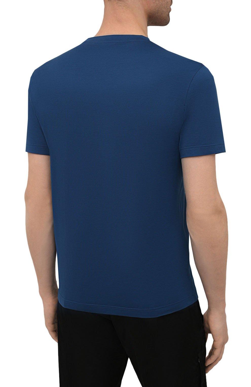 Мужская хлопковая футболка PRADA синего цвета, арт. UJM564-1UOR-F0AFC-092   Фото 4 (Принт: Без принта; Рукава: Короткие; Длина (для топов): Стандартные; Материал внешний: Хлопок; Стили: Кэжуэл)