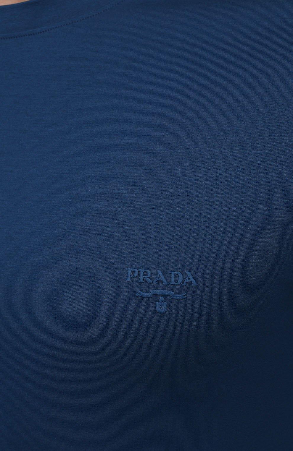 Мужская хлопковая футболка PRADA синего цвета, арт. UJM564-1UOR-F0AFC-092   Фото 5 (Принт: Без принта; Рукава: Короткие; Длина (для топов): Стандартные; Материал внешний: Хлопок; Стили: Кэжуэл)