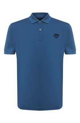 Мужское хлопковое поло PRADA синего цвета, арт. UJN444-XGS-F0491-181   Фото 1