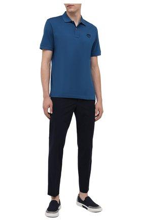 Мужское хлопковое поло PRADA синего цвета, арт. UJN444-XGS-F0491-181   Фото 2