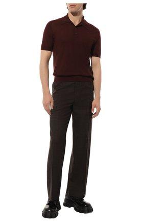 Мужское поло из кашемира и шерсти PRADA бордового цвета, арт. UMB113-1W7T-F0007-202 | Фото 2