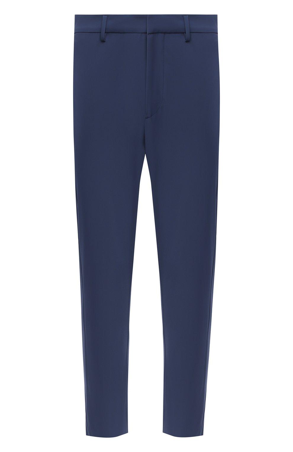 Мужские брюки PRADA синего цвета, арт. SPF94-1KJW-F0YNV-191   Фото 1 (Длина (брюки, джинсы): Стандартные; Случай: Повседневный; Материал внешний: Синтетический материал; Стили: Кэжуэл)