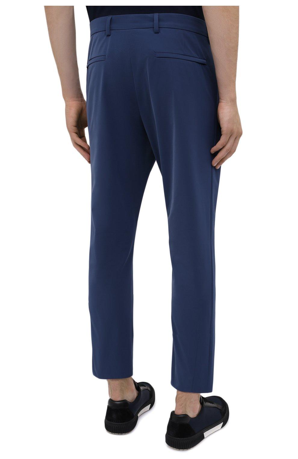 Мужские брюки PRADA синего цвета, арт. SPF94-1KJW-F0YNV-191   Фото 4 (Длина (брюки, джинсы): Стандартные; Случай: Повседневный; Материал внешний: Синтетический материал; Стили: Кэжуэл)