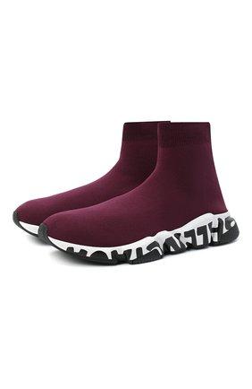 Мужские текстильные кроссовки speed BALENCIAGA бордового цвета, арт. 605972/W05GE | Фото 1