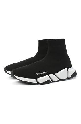 Мужские текстильные кроссовки speed 2.0 BALENCIAGA черно-белого цвета, арт. 617239/W1702 | Фото 1