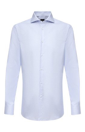 Мужская хлопковая сорочка BOSS голубого цвета, арт. 50439724 | Фото 1
