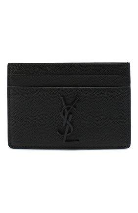 Мужской кожаный футляр для кредитных карт SAINT LAURENT черного цвета, арт. 485631/BTY0U | Фото 1
