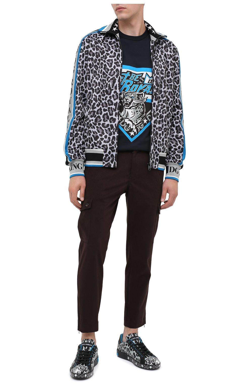 Мужские кожаные кеды portofino DOLCE & GABBANA синего цвета, арт. CS1772/AX909 | Фото 2
