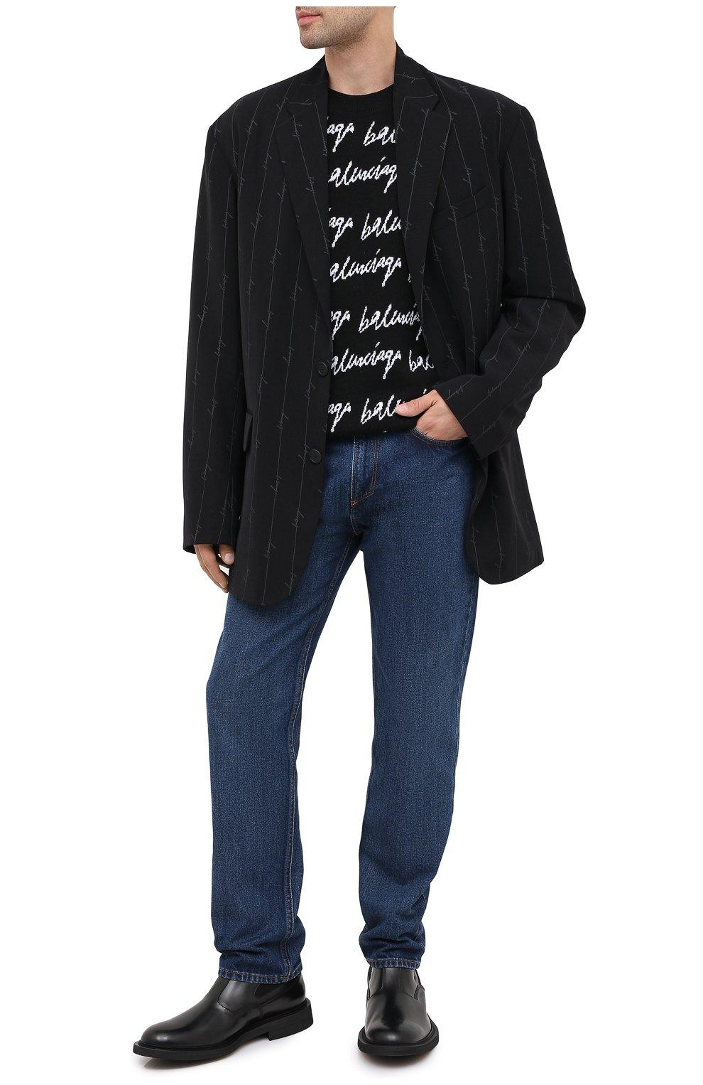 Мужской пиджак BALENCIAGA черного цвета, арт. 629328/TILT7 | Фото 3