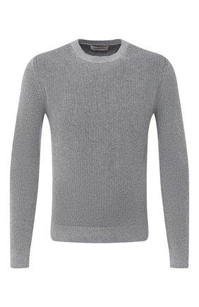 Мужской свитер из кашемира и хлопка CORNELIANI серого цвета, арт. 86M550-0825142/00   Фото 1