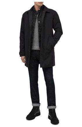 Мужской свитер из кашемира и хлопка CORNELIANI серого цвета, арт. 86M550-0825142/00   Фото 2