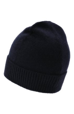 Мужская шапка из кашемира и шелка IL BORGO CASHMERE темно-синего цвета, арт. 56-156G0   Фото 2 (Материал: Шерсть, Кашемир, Текстиль, Шелк; Кросс-КТ: Трикотаж)
