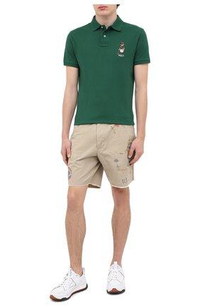 Мужское хлопковое поло POLO RALPH LAUREN зеленого цвета, арт. 710803538 | Фото 2