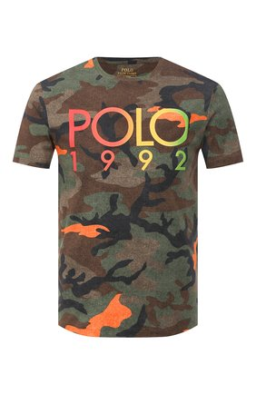 Мужская хлопковая футболка POLO RALPH LAUREN хаки цвета, арт. 710803497 | Фото 1