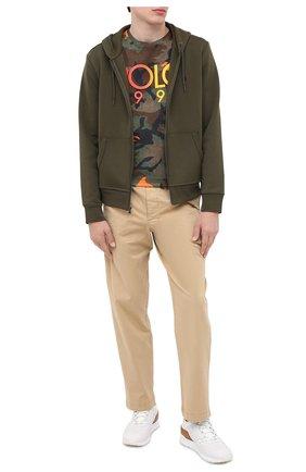Мужская хлопковая футболка POLO RALPH LAUREN хаки цвета, арт. 710803497 | Фото 2