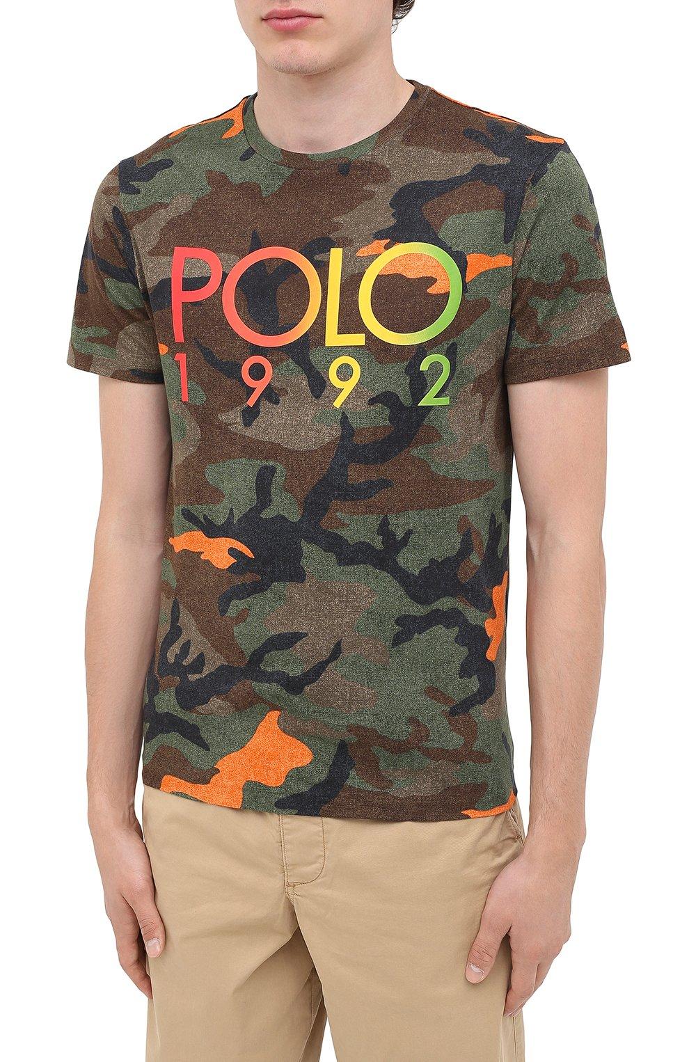 Мужская хлопковая футболка POLO RALPH LAUREN хаки цвета, арт. 710803497 | Фото 3