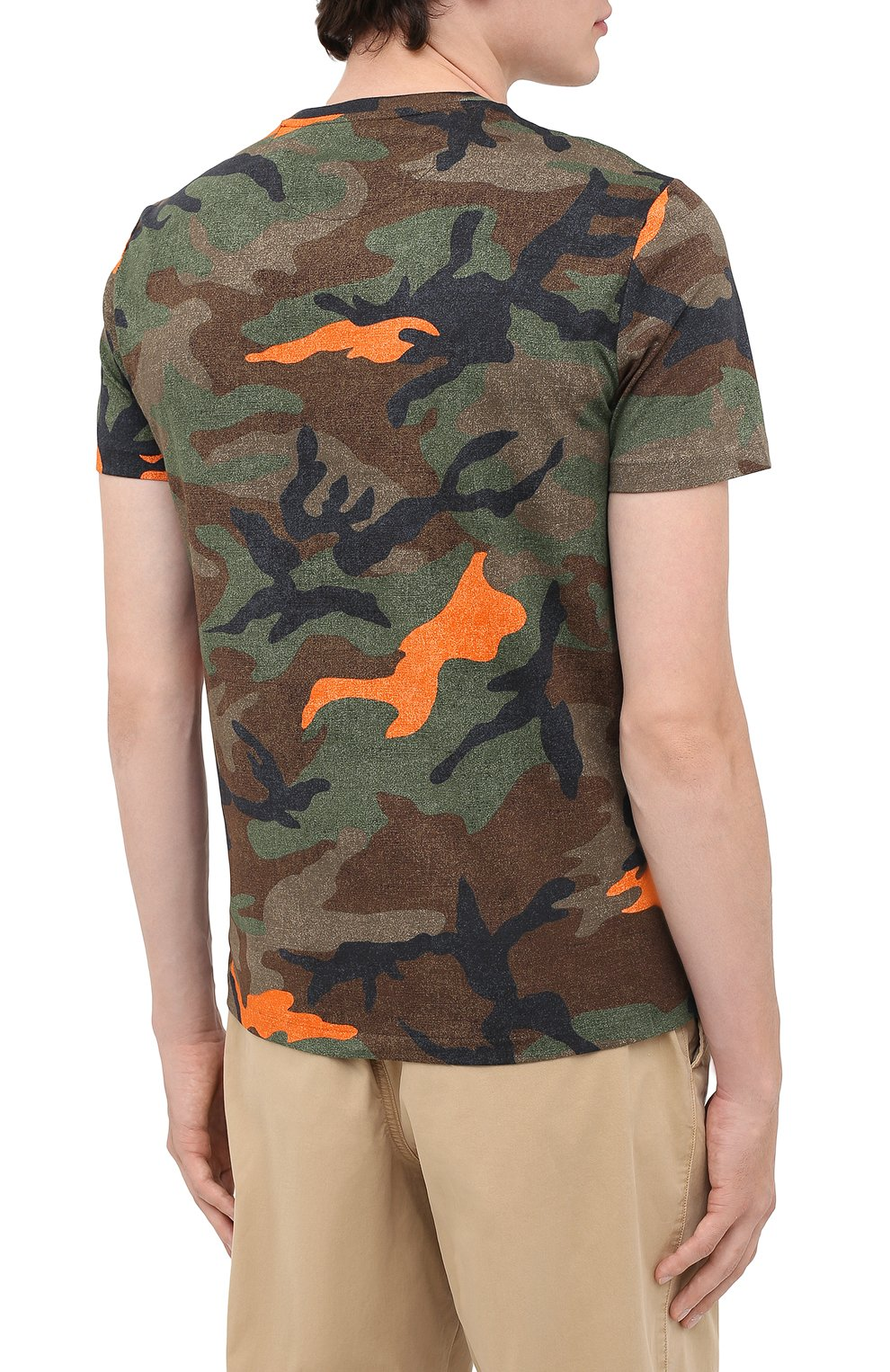 Мужская хлопковая футболка POLO RALPH LAUREN хаки цвета, арт. 710803497 | Фото 4