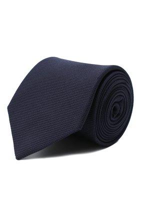Мужской шелковый галстук LUIGI BORRELLI темно-синего цвета, арт. LC80-B/TT9061 | Фото 1