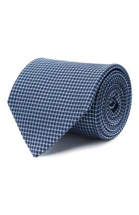 Мужской шелковый галстук LUIGI BORRELLI темно-синего цвета, арт. LC80-B/TT30035 | Фото 1