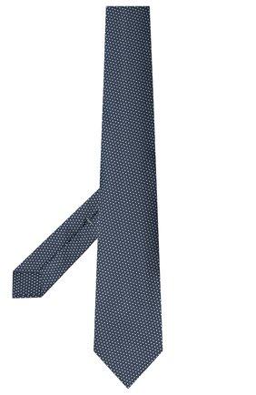 Мужской шелковый галстук LUIGI BORRELLI темно-синего цвета, арт. LC80-B/TT30281 | Фото 2