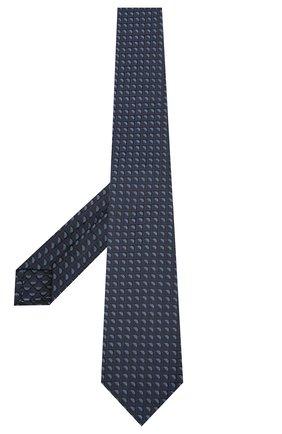 Мужской шелковый галстук LUIGI BORRELLI темно-синего цвета, арт. LC80-B/TT30283 | Фото 2 (Материал: Текстиль; Принт: С принтом)