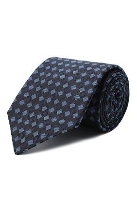 Мужской шелковый галстук LUIGI BORRELLI темно-синего цвета, арт. LC80-B/TT30284 | Фото 1