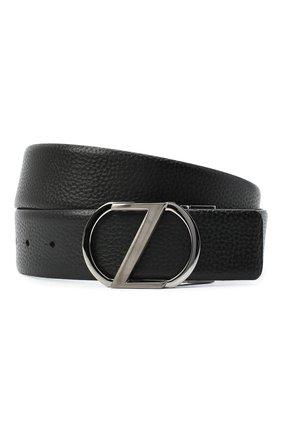 Мужской кожаный ремень Z ZEGNA черного цвета, арт. BAMPE1/958A | Фото 1