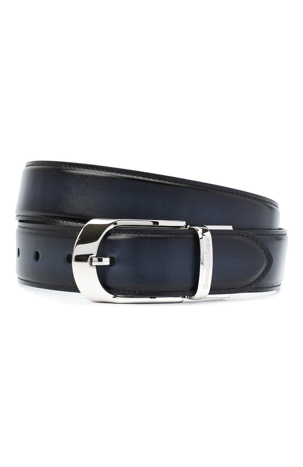 Мужской кожаный ремень ERMENEGILDO ZEGNA темно-синего цвета, арт. B1NY3G/J0805C | Фото 1