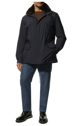 Мужская куртка с меховой подкладкой LORO PIANA темно-синего цвета, арт. FAL3626 | Фото 2