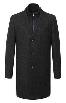 Мужской пальто из шерсти и вискозы BOSS темно-серого цвета, арт. 50438523 | Фото 1