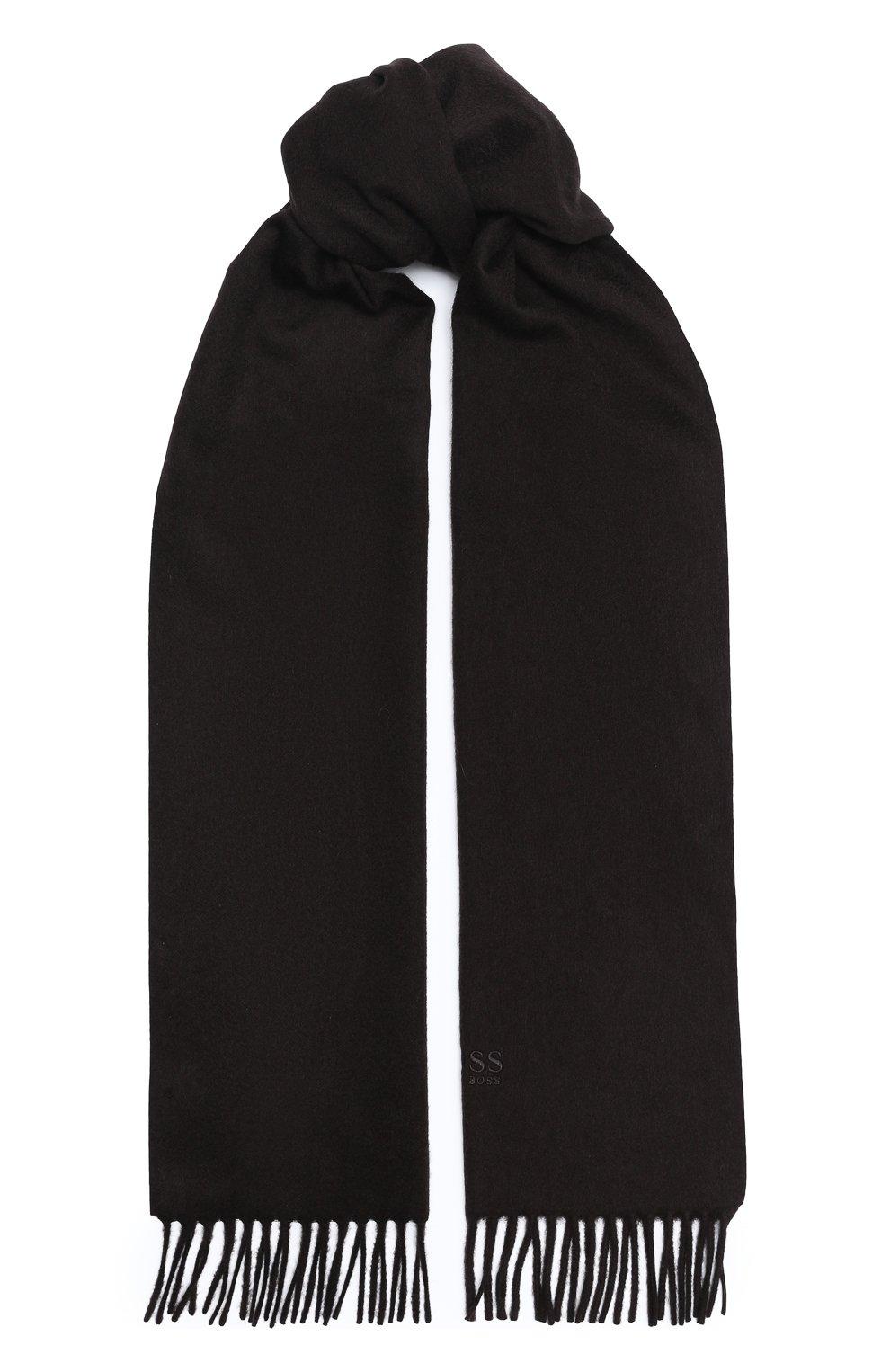 Мужской кашемировый шарф BOSS темно-коричневого цвета, арт. 50415017   Фото 1