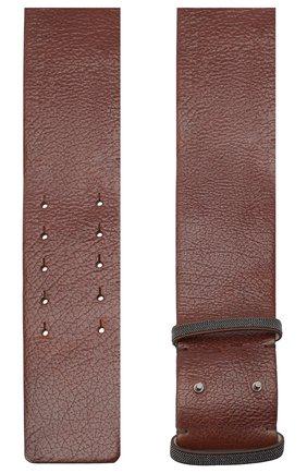 Женский кожаный ремень BRUNELLO CUCINELLI коричневого цвета, арт. M0JUMC708 | Фото 2 (Материал: Кожа)