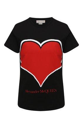 Женская хлопковая футболка ALEXANDER MCQUEEN черного цвета, арт. 642485/QZACA   Фото 1