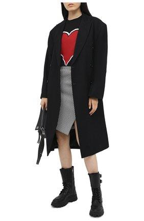 Женская хлопковая футболка ALEXANDER MCQUEEN черного цвета, арт. 642485/QZACA   Фото 2