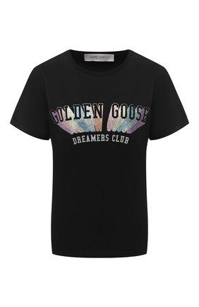 Женская хлопковая футболка GOLDEN GOOSE DELUXE BRAND черного цвета, арт. GWP00327.P000192 | Фото 1