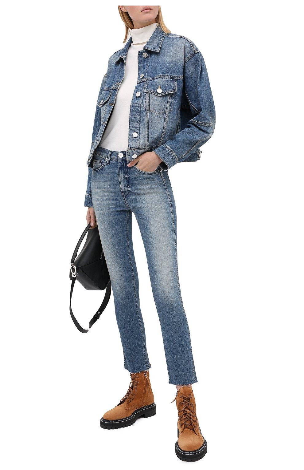 Женские джинсы 3X1 синего цвета, арт. W3SAC1079/EIZA   Фото 2 (Кросс-КТ: Деним; Длина (брюки, джинсы): Стандартные; Силуэт Ж (брюки и джинсы): Прямые; Материал внешний: Хлопок; Стили: Кэжуэл)