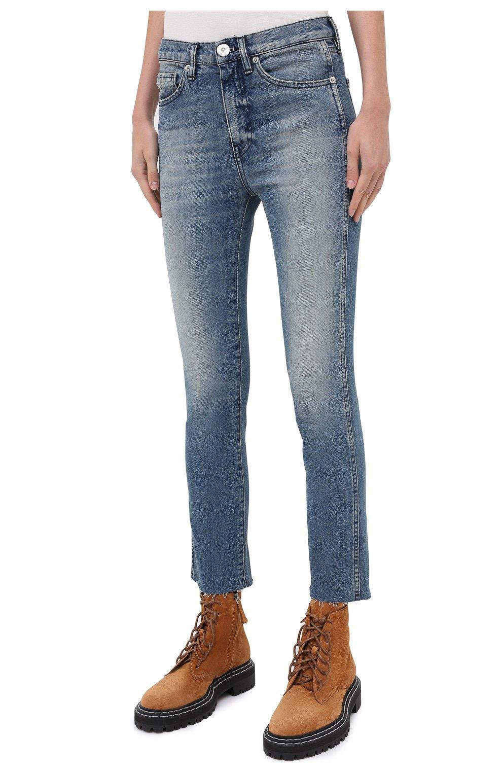 Женские джинсы 3X1 синего цвета, арт. W3SAC1079/EIZA   Фото 3 (Кросс-КТ: Деним; Длина (брюки, джинсы): Стандартные; Силуэт Ж (брюки и джинсы): Прямые; Материал внешний: Хлопок; Стили: Кэжуэл)